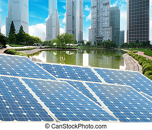 Shanghai Bund skyline landmark ,Ecological energy renewable...