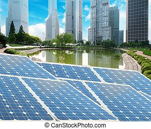 Shanghai Bund skyline landmark ,Ecological energy renewable...