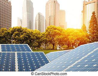 Shanghai Bund skyline landmark ,Ecological energy renewable sola