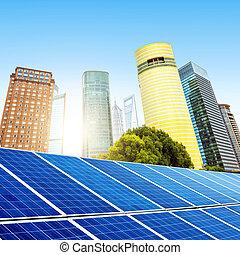 Shanghai Bund - Urban background solar panels, Shanghai,...