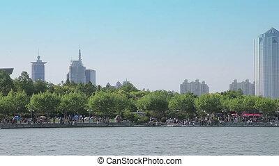 Shanghai, China, 2013 April-May Shanghai City Park. Panorama of the lake in the park.