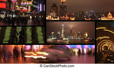 Shanghai, China at night, montage - Six clips of downtown...