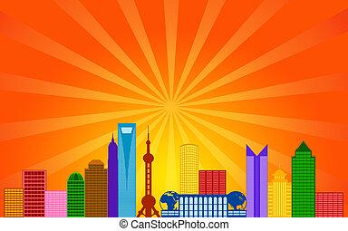 Shanghai China City Skyline Panorama