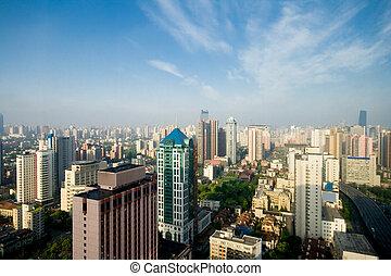 shanghai, china, contorno, cielo azul, neblina,...