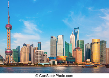 Shanghai China from the Bund - A view of a sunny day of...