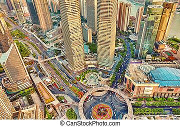 shanghai, china-, lehet, 24, 2015:, gyönyörű, felhőkarcoló, város, épület, gyönyörű, hivatal, és, kereskedelmi, épületek, alatt, a, pudong, ügy, része, modern, shanghai, -, a, anyagi, főváros, közül, a, republic of, china., china.