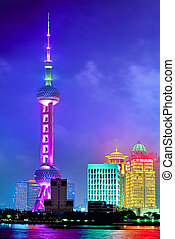 SHANGHAI, CHINA -MAY 24, 2015. Oriental Pearl Tower at the nighttime. Tower  470 meter the Oriental Pearl is one of Shanghai's tallest buildings, located at Lujiazui finance and trade zone in Pudong district in most dynamic city of China.