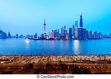 shanghai china - panoramic view of shanghai skyline with...
