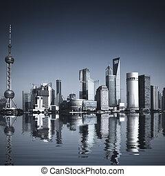 shanghai china - Wide angle view of Shanghai, China...