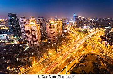 shanghai city interchange at night