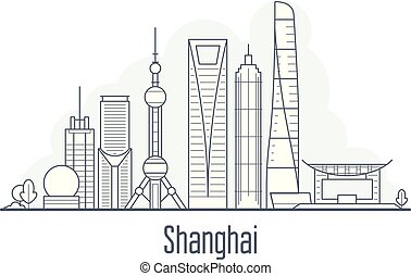 Shanghai city skyline - cityscape with landmarks in liner style
