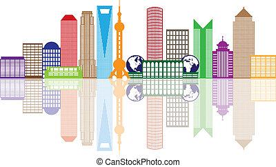 Shanghai City Skyline Color Outline Illustration