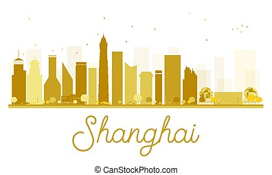 Shanghai City skyline golden silhouette.