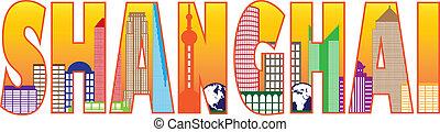 Shanghai City Skyline Outline Text Color Illustration