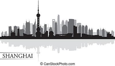 Shanghai city skyline silhouette background, vector...