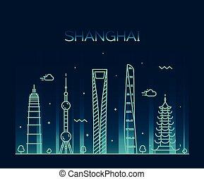 Shanghai City skyline silhouette vector line art