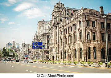 shanghai, cityscape, bund