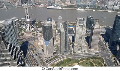 Shanghai cityscape overlooking the Financial District and Huangpu River, China
