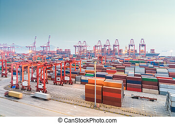shanghai container port in nightfall