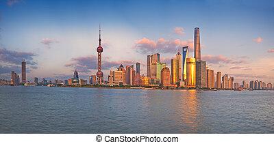 shanghai, contorno, pudong