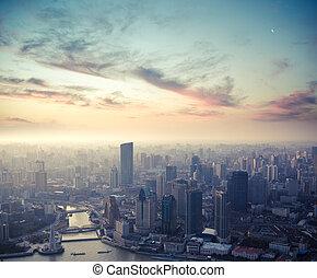 shanghai, em, anoitecer