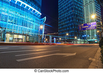 shanghai, financeiro, rua, à noite