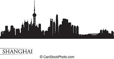 shanghai, fond, horizon, ville, silhouette