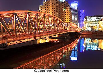 shanghai garden bridge at night