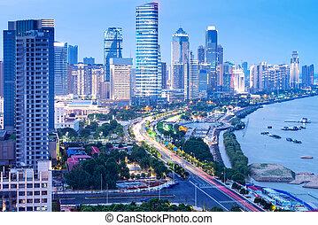 shanghai, gratte-ciel, nuit