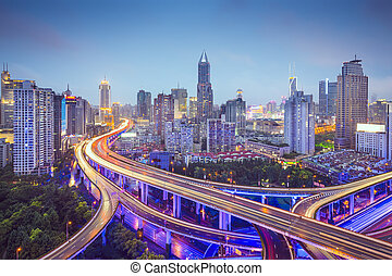 Shanghai Highways - Shanghai, China aerial view over...