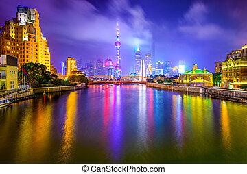 shanghai, horizon, porcelaine, ville