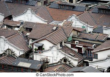 Shanghai hutong in bird view