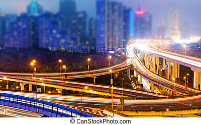shanghai interchange overpass and elevated road in nightfall