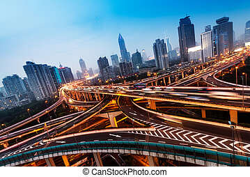 Shanghai interchange - beautiful city interchange overpass...