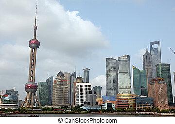 shanghai, -, június, 15:, shanghai, pudong, láthatár, kilátás bund, -, melyik, van, egy, közül, a, tető, tíz, shanghai, vonzások, alatt, shanghai, kína, képben látható, juney, 15, 2012