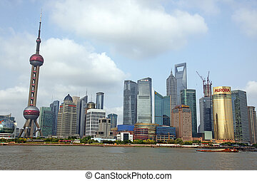 Shanghai,  juney,  Bund, dez, atrações, topo,  15:,  Shanghai,  Pudong, um,  -,  Skyline,  China, vista, Junho,  15,  2012