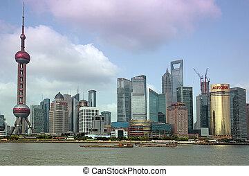 Shanghai,  juney,  Bund, Ti, Tiltrækninger,  Top,  15:,  Shanghai,  Pudong, Æn,  -,  Skyline, kina, Udsigter, Juni,  15,  2012