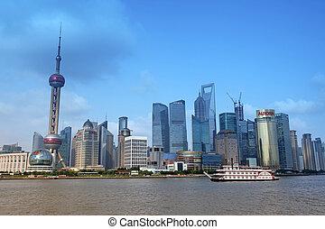 shanghai, -, juni, 15:, shanghai, pudong, skyline, ansicht bund, -, welcher, gleichfalls, eins, von, der, oberseite, zehn, shanghai, anziehungskräfte, in, shanghai, porzellan, auf, juney, 15, 2012