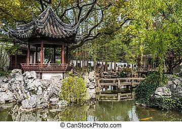 shanghai, kína, kert, yuyuan
