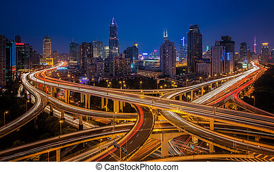 shanghai, knotenpunkt, erhöhte straße