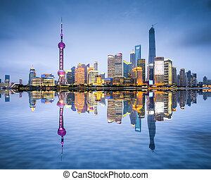 shanghai, láthatár, kína, város