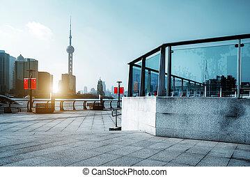 shanghai, láthatár, város
