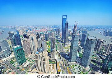 shanghai, luchtopnames, in, de, dag