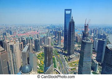 shanghai, luftaufnahmen, in, der, tag