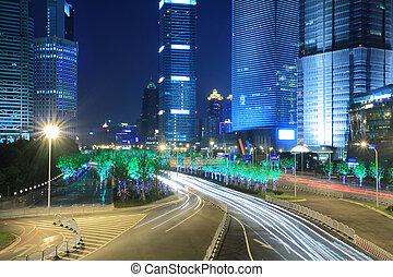 shanghai, lujiazui, ciudad, luz de la noche
