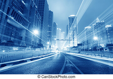 shanghai, lujiazui, finance, &, commercer, zone, moderne, ville, nuit, fond