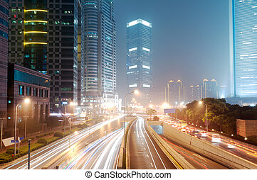 Shanghai Lujiazui Finance & Trade Zone modern city night background