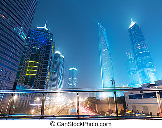 Shanghai Lujiazui Finance & Trade Zone modern city night...