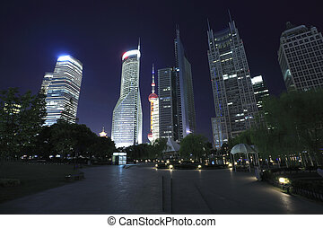 shanghai, lujiazui, finanzas, y, ciudad, señal, edificios, urbano, noche, paisaje