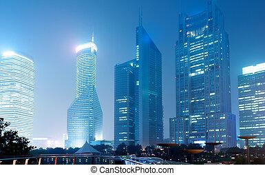 shanghai, lujiazui, finanzas, y, comercio, zona, moderno, ciudad, noche, plano de fondo